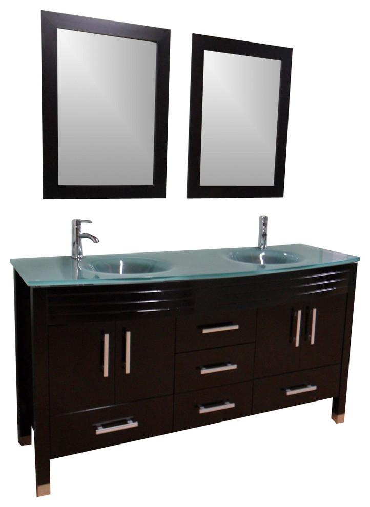 Double Sink Frost Green Glass Top Vanity Espresso - Glass top bathroom vanity units